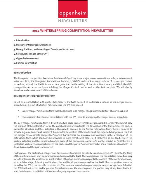 Competition law newsletter (winter/spring 2012)