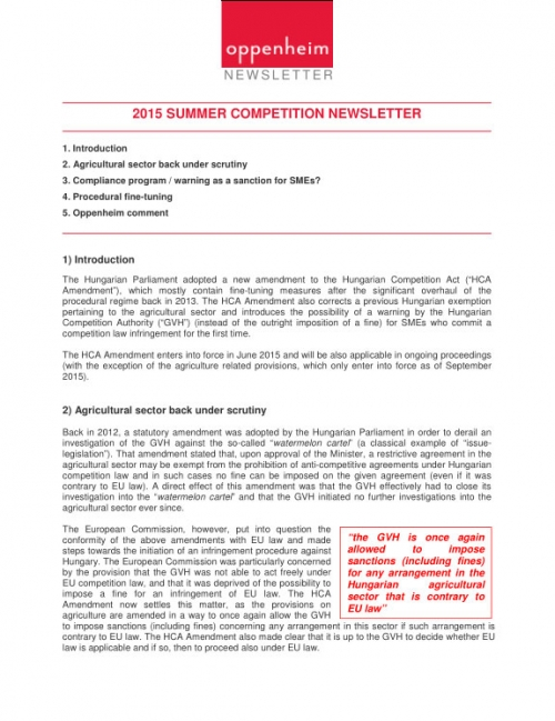 Competition law newsletter (summer 2015)
